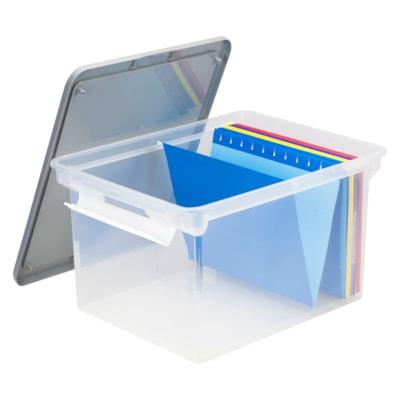Bac portatif pour documents translucide Storex TRANSPARENT AVEC COUVERCLE