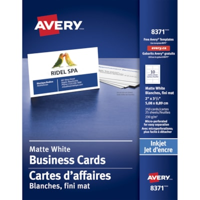 """Avery Micro-Perforated Business Cards for Inkjet Printers, Matte White, 2"""" x 3 1/2"""", 250/PK MICROPERFORATED INKJET PRINTER 85LBS MATTE WHITE"""