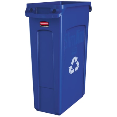 Rubbermaid Slim Jim Vented Container, Recycle, Blue, 23-Gallon Capacity