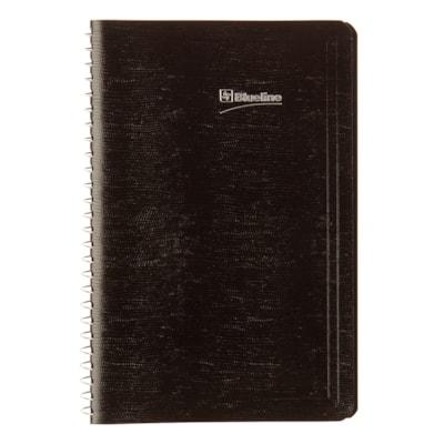 "Blueline Daily Perpetual Date Book, Black, 8"" x 5"", January - December, Bilingual BLACK LIZARD COVER  BIL.  396P SIZE: 8"" X 5"""