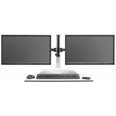 Safco Soar Electric Desktop Sit/Stand Dual Monitor Arms WHITE