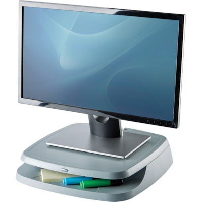 Fellowes Basic Monitor Riser, Platinum TRAY FOR PAPER OR SUPPLIES HOLDS UP TO 80LBS LIGHT GREY