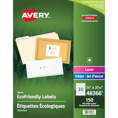 """Avery 48366 EcoFriendly File Folder Labels, White, 2/3"""" x 3 7/16"""", 30 Labels/Sheet, 5 Sheets/PK WHITE  PERMANENT 1/3 CUT - 150 LABELS/PKG"""