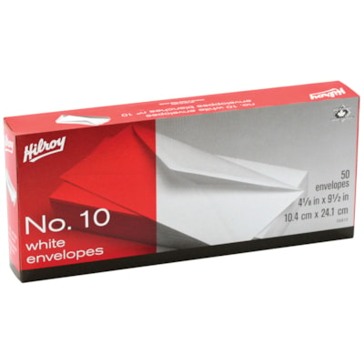 Boîte d'enveloppes blanches standard n° 10 Hilroy NO 10 BLANCHES 50 CT 4-1/8 X 9-1/2