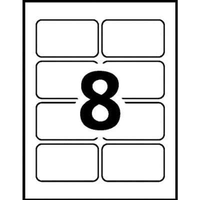 Badges autocollants souples blancs au fini mat 2 1/3 po x 3 3/8 po Avery AUTOCOLLANTES PR IMPRIM. LASER 50 FEUILLES 400 ÉTIQU. AVERY