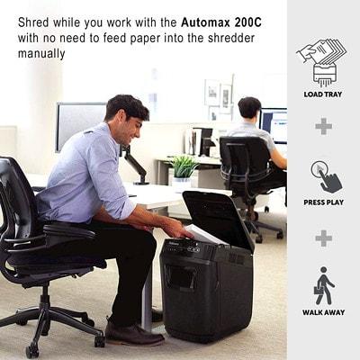 Déchiqueteuse à alimentation automatique AutoMax 200C Fellowes, coupe croisée, capacité de 200 feuilles, niveau de sécurité P-4