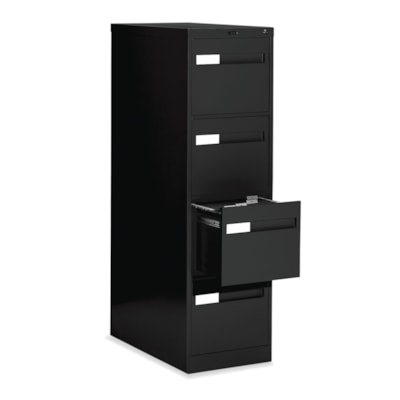 Global 2600 Plus Series Files, 4-Drawer, Letter-Size, Black W/LOCK W/RECESSED PULL20Y WARR FULL CRADLE SUSP. 26-1/2 DEPTH