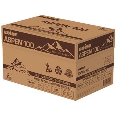 Papier recyclé de choix à usages multiples Aspen 100 Boise, 20 lb, Format Lettre, rame 100% FIBRE DE POST-CONSOM.