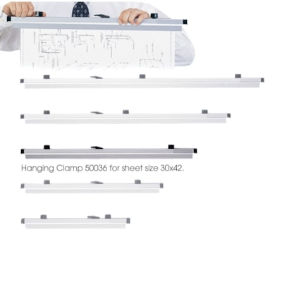"""Safco Extruded Aluminum Hanging Clamps, Grey, 30"""", 6/CT"""