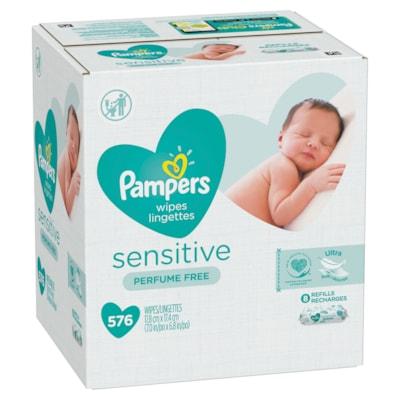 Lingettes pour bébé Pampers Sensitive, sans parfum, caisse de 576