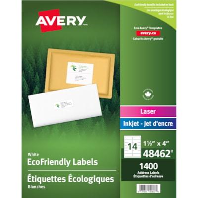 Étiquettes d'adresse et d'expédition blanches écologiques Avery RESPECTUEUX DE L'ENVIRONNEMENT 14/FLLE  100FLLE/BTE  1400/BTE