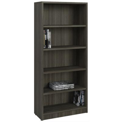 "HDL 5-Shelf Grey Dusk Bookcase GREY DUSK FINISH 32""W X 14""D X 72""H"