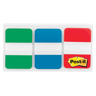 """Post-it Durable Tabs, Green/Blue/Red, 1"""" x 1/2"""", 22 Tabs/Colour, 66 Tabs/PK 66 PER PACK  1 IN X 1.5 IN"""