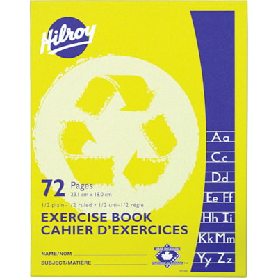 Hilroy Recycled Exercise Book 1/2 RULED YELLOW 72PGS 9-1/8 X 7-1/8
