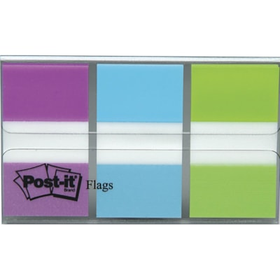 """Post-it Standard Flags with On-The-Go Dispenser, Blue/Purple/Green, 1"""" x 1 7/10"""", 20 Flags/Colour, 3 Colours/PK ASSORTED COLOURS"""
