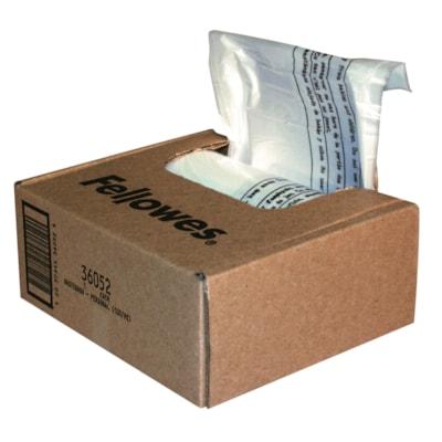Sacs pour déchiqueteuses de maison, petit bureau et bureau à domicile Powershred Fellowes, transparent, boîte de 100 PR POWERSHRED PS50/PS55/PS60/ PS80 100/CTN  15X26X9