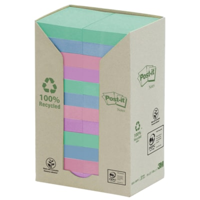"""Post-it 100% Recycled Notes Tower Pack, Assorted Colours, 1 1/2"""" x 2"""", 100 Sheets/Pad, 24 Pads/PK PASTEL COLOURS 1.5 X 2 100\% RECYCLED BLUE ANGEL CERTIFIED"""