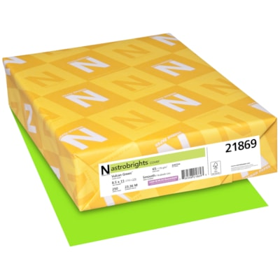 Papier couverture Astrobrights Neenah, couleur vert Vulcan Green, format lettre, certifié FSC et Green Seal, 65 lb, rame FSC LASER INKJET GUARANTEED VULCAN GREEN