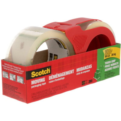 Scotch Tough Grip Moving and Packaging Tape with Dispenser, 48 mm x 50 m, 2 Rolls/PK 2/PACK W/DISP 48MMX50M