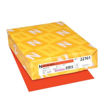 Papier couverture Astrobrights Neenah, couleur orange Orbit Orange, format lettre, certifié FSC et Green Seal, 65 lb, rame FSC LASER JET D'ENCRE GARANTIE ORBIT ORANGE