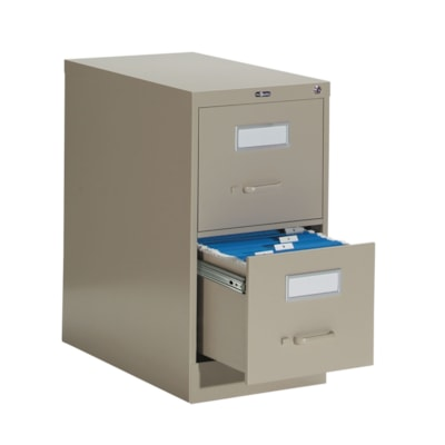 """Global 2600 Series Economy Vertical File, 2-Drawer, Sand, Letter Size 15""""W X 26 9/16""""D X 29""""H ECONOMY"""