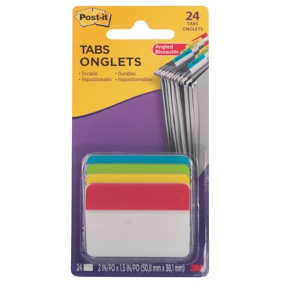 """Post-it Angled Durable Filing Tabs with Assorted Primary Coloured Bars, 2"""" x 1 1/2"""", 24/PK PRIMARY COLOURS 2"""" TABS 24 TABS/PACK"""