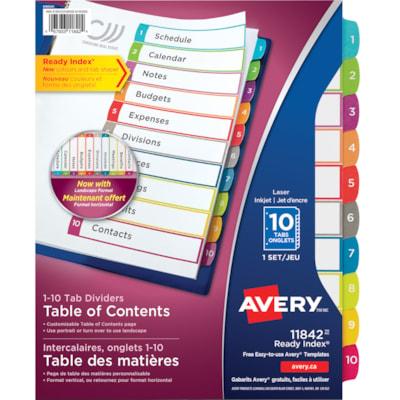 Intercalaires à onglets multicolores avec table des matières personnalisable Ready Index Avery ONGLETS NUMÉROTÉS 1-10  TABLE DES MATIÈRES  MULTICOLORES