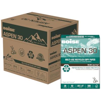 Papier recyclé à usages multiples Aspen 30 Boise, 20 lb, format lettre, caisse de 5 rames 30 % MAT. RECYC. POSTCONSOMM. 20 LB  BRILLANCE 92  2 500/CS