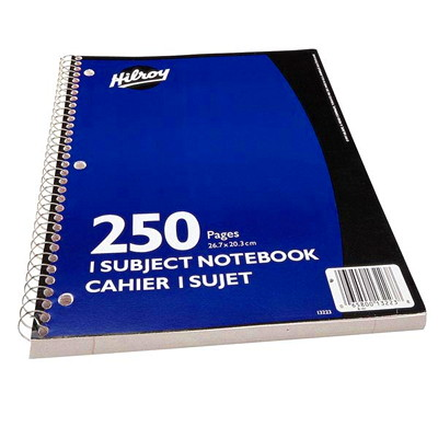 """Hilroy Executive Coil 1-Subject Notebook, Blue, 10 1/2"""" x 8"""", 250 pages"""