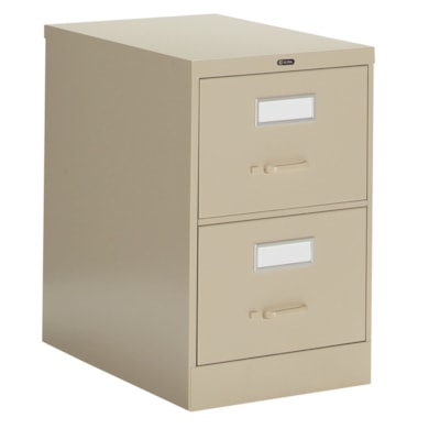 """Global 2600 Series Economy Vertical File, 2-Drawer, Sand, Legal Size 18""""W X 26 9/16""""D X 29""""H ECONOMY"""