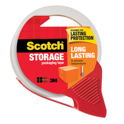 Scotch Long Lasting Storage Packaging Tape with Dispenser, 48 mm x 35 m, Single Roll 48MM X 35M