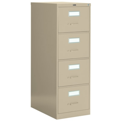"""Global 2600 Series Economy Vertical File, 4-Drawer, Sand, Legal Size 18""""W X 26 9/16""""D X 52""""H ECONOMY"""