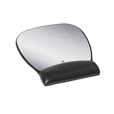 """3M Precise Antimicrobial Mouse Pad with Wrist Rest, Black/Silver, 8 3/4""""W x 9 1/4""""D x 3/4""""H ANTIMICROBIAL BLACK&SILVER"""
