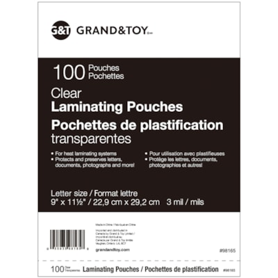 """Grand & Toy Letter Size Thermal Laminating Pouches, 3 mil, Pack of 100 LETTER  9"""" X 11 1/2"""" HEAT SEALED  GLOSS"""