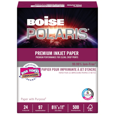 Papier pour imprimante à jet d'encre Polaris Boise, Certifié FSC, 24 lb, 8 1/2 po x 11 po, rame BRILLANCE 96  8-1/2X11
