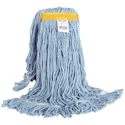 Globe Commercial Products Synthetic Looped End Wet Mop Head With Narrow Band, 24 oz NARROW BAND BLUE TRUE WEIGHT MOP