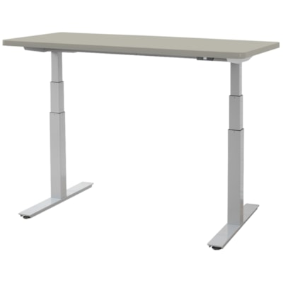 """ergoCentric upCentric Height-Adjustable Table, Dove Grey, 36"""" x 72"""" 36""""X72""""  ELECTRIC W 2 GROMMETS SILVER FRAME  GREY TABLE TOP"""