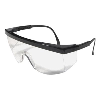 Dentec Ferno Safety Glasses, Black Frame/Clear Lens LENS  W/ADJUSTABLE TEMPLES BLACK FRAME  CSA