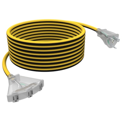 """Stanley Shopcord LiteMax 14/3"""" Outdoor 3-Outlet Fan Extension Cord With Lighted Ends, Yellow/Black, 50-ft YELLOW/BLACK  LIGHTED END FAN CORD  SHOPCORD LITEMAX 50"""