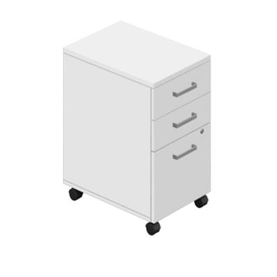 Caisson mobile à 2 tiroirs de rangement et 1 de classement Ionic Offices to Go, blanc BLANC