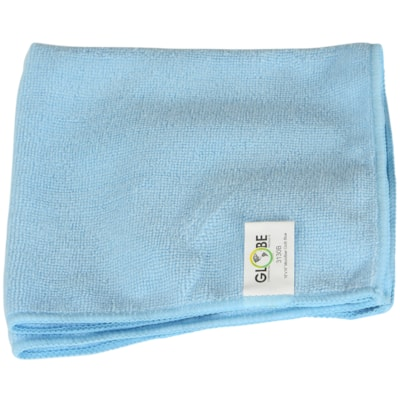 """Globe Commercial Products Microfibre Cloths, Blue, 16"""" x 16"""", 10/PK WITHSTANDS HUNDREDS OF WASHES GREEN CLEANING -  240GSM"""