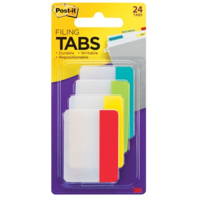 """Post-it Durable Filing Tabs, Assorted Primary Colours, 2"""" x 1 1/2"""", 24/PK BRIGHT COLOURS"""