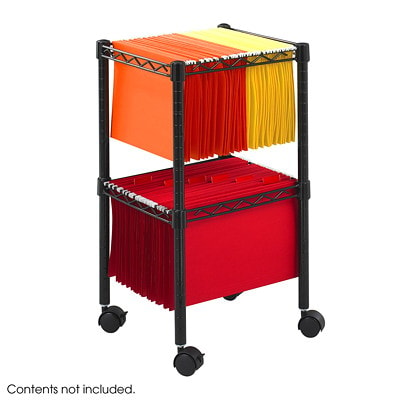 "Safco 2-Tier Mobile File Cart, 15 1/2""W x 14""D x 27 1/2""H, Black"