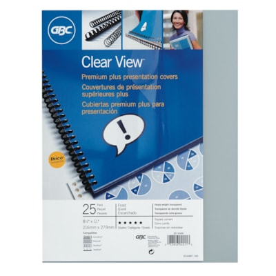 """Swingline GBC Clear View Letter-Size Presentation Covers SIZE 8 1/2 X 11"""" CLEAR VIEW BINDING COVER"""