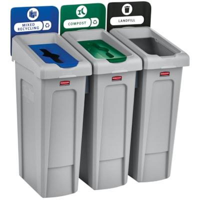 Rubbermaid Slim Jim 3-Stream Recycling Station RECYCING STATION  LANDFILL MIXED  RECYCLING/COMPOST
