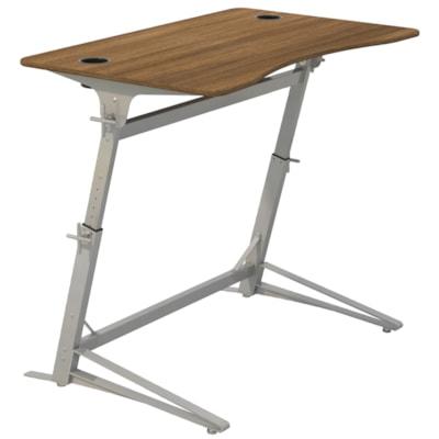 Safco Verve Standing Desk, Walnut Tabletop/Silver Base HEIGHT ADJUSTABLE SILVER BASE  WALNUT TOP