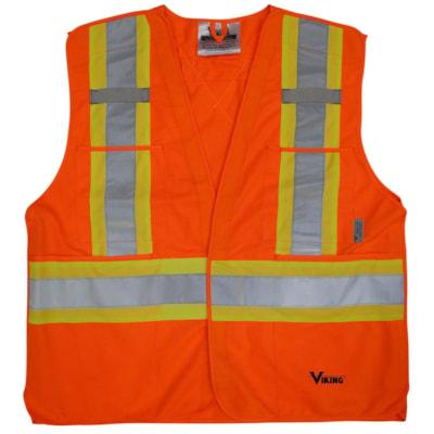 Viking 5-Point Bright Orange Tear Away 2XL/3XL Safety Vest CLASS 2 LEVEL 2 5PT TEARAWAY HI-VIS GREEN