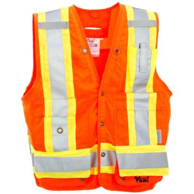 Veste de sécurité d'arpenteur orange vif Viking, TTG CLASS 2 LEVEL 2  CSA 13 POCKETS