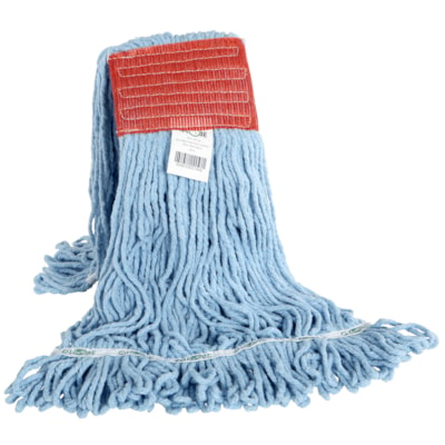Globe Commercial Products Synthetic Looped-End Wet Mop, Red Wide-Band, Blue, 20 oz LOOPED END  SYNTHETIC  BLUE #REF!