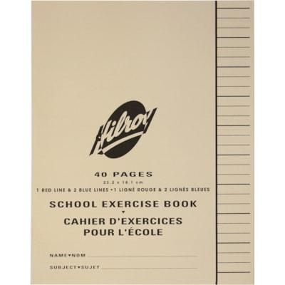 Cahier d'exercices pour l'école Hilroy AVEC MARGE  40 PAGES LIGNE; BLEU/BLEU/ROUGE (RBBR)